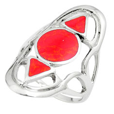 6.68gms red coral enamel 925 sterling silver ring jewelry size 8 c12765