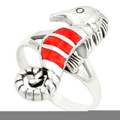 Red coral enamel 925 sterling silver seahorse ring size 8.5 c12826