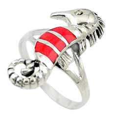 Red coral enamel 925 sterling silver seahorse ring jewelry size 8.5 c21663