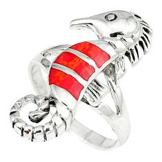 4.69gms red coral enamel 925 sterling silver seahorse ring jewelry size 6 c12186