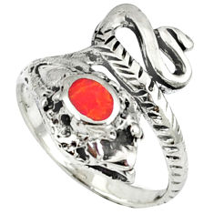 Red coral enamel 925 sterling silver snake ring jewelry size 7.5 c11921