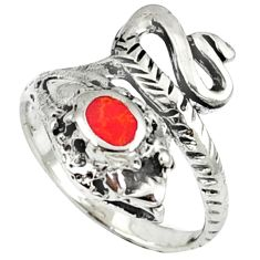 Red coral enamel 925 sterling silver snake ring jewelry size 7.5 c11939