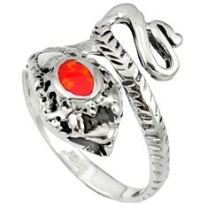 Red coral enamel 925 sterling silver snake ring jewelry size 6 c11930