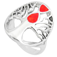 5.26gms red coral enamel 925 sterling silver tree of life ring size 8.5 c12687