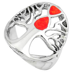 5.48gms red coral enamel 925 sterling silver tree of life ring size 7.5 c12696