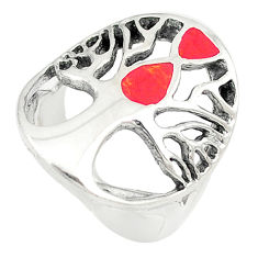 Red coral enamel 925 sterling silver tree of life ring jewelry size 6.5 c21656