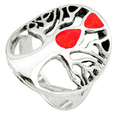 Red coral enamel 925 sterling silver tree of life ring jewelry size 6 c12388