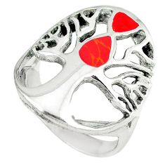 Red coral enamel 925 sterling silver tree of life ring jewelry size 7 c12392