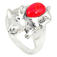 Red coral fancy shape 925 sterling silver ring jewelry size 6.5 c21670
