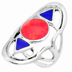 6.89gms red coral lapis lazuli enamel 925 sterling silver ring size 10 c12770