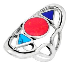 6.89gms red coral lapis lazuli enamel 925 sterling silver ring size 7 c12764