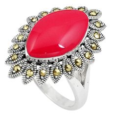 8.00cts red coral marcasite 925 silver solitaire ring jewelry size 9.5 c17483
