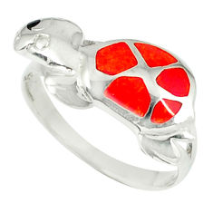 3.26gms red coral onyx enamel 925 sterling silver tortoise ring size 8 c11924