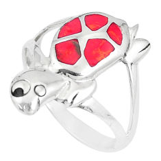 3.87gms red coral onyx enamel sterling silver tortoise ring size 9 a93340 c13258