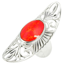 Red coral oval 925 sterling silver ring jewelry size 6.5 c12645