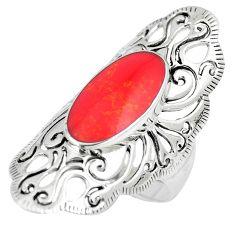 4.92cts red coral oval 925 sterling silver ring jewelry size 7 c12651