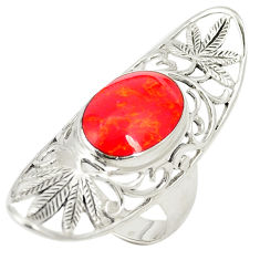 Red coral oval shape 925 sterling silver ring jewelry size 6.5 c12649