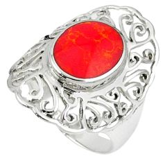 Red coral oval shape 925 sterling silver ring jewelry size 7 c12023