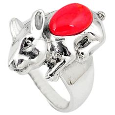 Red coral pear shape 925 sterling silver ring jewelry size 6.5 c12041