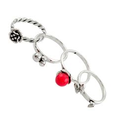 1.39cts red coral round 925 sterling silver 3 rings jewelry size 5.5 c9868