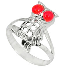 Red coral round 925 sterling silver owl ring jewelry size 8.5 c12252