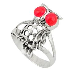 Red coral round 925 sterling silver owl ring jewelry size 6.5 c26154
