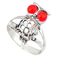 Red coral round 925 sterling silver owl ring jewelry size 8 c12255