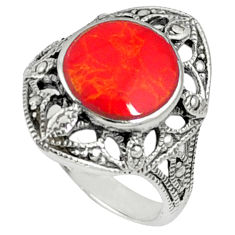 Red coral round shape 925 sterling silver ring jewelry size 7.5 c12035