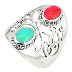 Red coral turquoise 925 sterling silver ring jewelry size 8.5 c12317