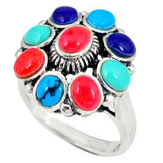 4.68cts red coral turquoise 925 sterling silver ring jewelry size 6.5 c12434