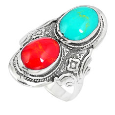 7.69gms red coral turquoise enamel 925 sterling silver ring size 7.5 c12417