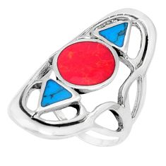 7.02gms red coral turquoise enamel 925 sterling silver ring size 9.5 c12769