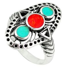 Red coral turquoise enamel 925 sterling silver ring jewelry size 6.5 c11960