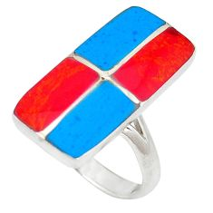 Red coral turquoise enamel 925 sterling silver ring jewelry size 6.5 c12145