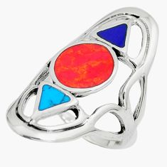 6.69gms red coral turquoise enamel 925 sterling silver ring size 7 c12771