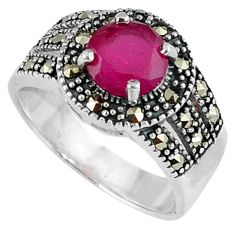 2.36cts red faux ruby marcasite 925 sterling silver ring jewelry size 7 c22971