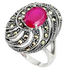 Red faux ruby oval marcasite 925 sterling silver ring jewelry size 6.5 c17367