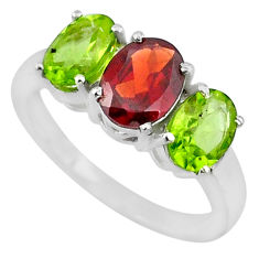 5.54cts red garnet peridot 925 sterling silver 3 stone ring size 7.5 r71297