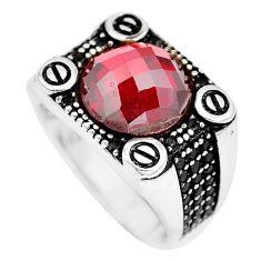 7.34cts red garnet quartz black topaz 925 silver mens ring size 10.5 c26163