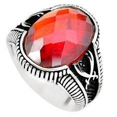 Red garnet quartz black topaz 925 sterling silver mens ring size 11 c11442