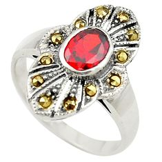 Red garnet quartz marcasite 925 sterling silver ring jewelry size 6.5 c17453