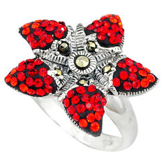 Red garnet quartz marcasite 925 sterling silver ring size 6.5 c21431