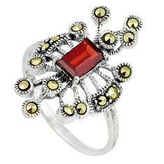 Red garnet quartz marcasite 925 sterling silver ring size 7 c16071