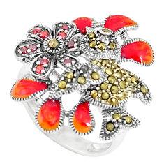 0.97cts red garnet quartz marcasite enamel 925 silver ring size 8 c15940