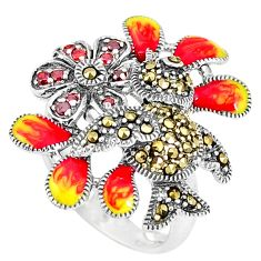 1.00cts red garnet quartz marcasite enamel 925 silver ring size 8 c15935