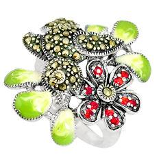 0.90cts red garnet quartz marcasite enamel 925 silver ring size 6.5 c15979