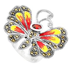 1.42cts red garnet quartz marcasite 925 silver butterfly ring size 8 c16289
