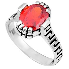 Red garnet quartz oval 925 sterling silver mens ring jewelry size 8 c26165