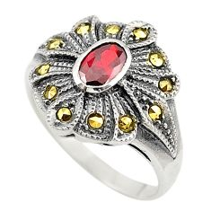 Red garnet quartz oval marcasite 925 sterling silver ring size 7.5 c17318