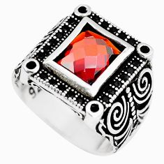 3.94cts red garnet quartz square topaz 925 silver mens ring size 9 c11446